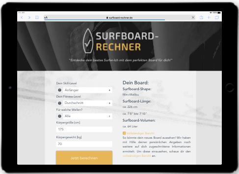 Referenz Vue js Entwicklung Surfboard Rechner